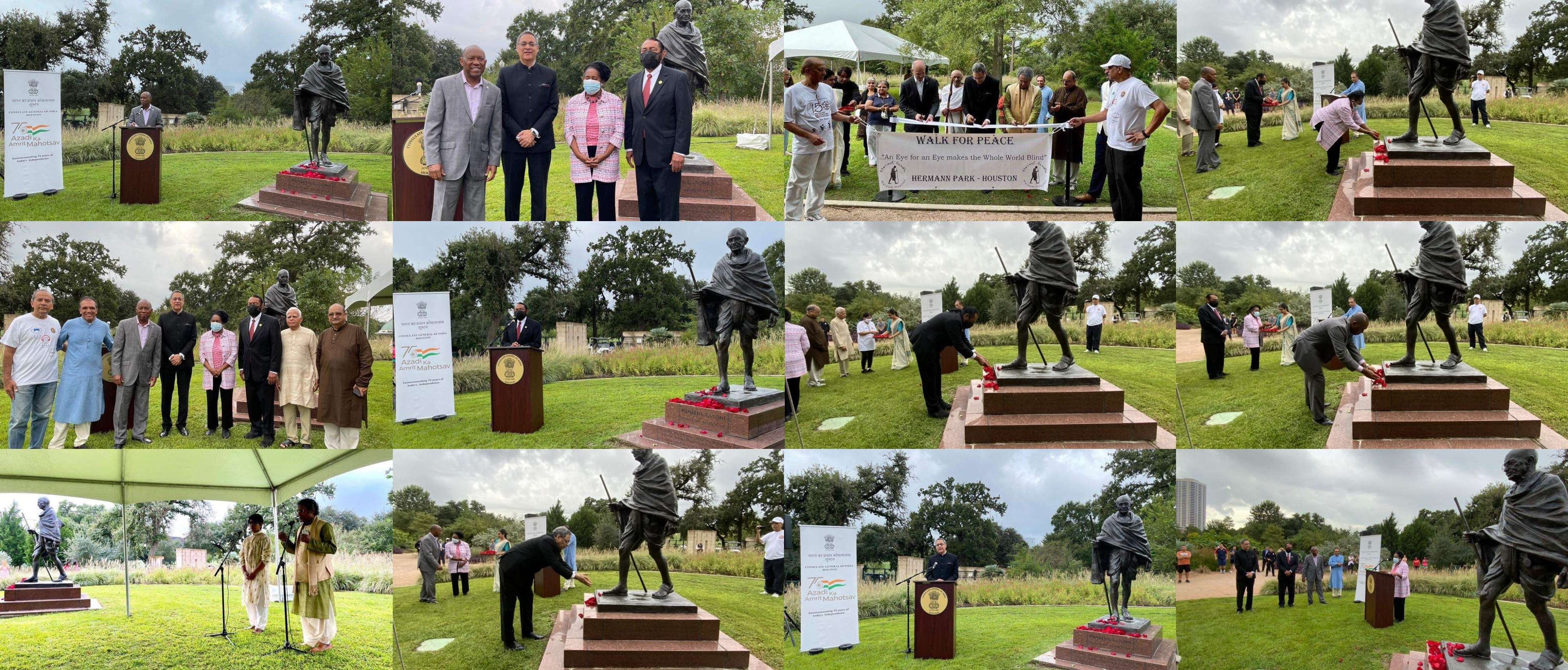 Consul General, Mayor Sylvester Turner, Congresswoman  Jackson Lee Congressman Al Green paid floral tributes to MahatmaGandhi on the 152nd anniversary of his birthday at Mahatma Gandhi statue, Hermann Park, Houston on October 2, 2021