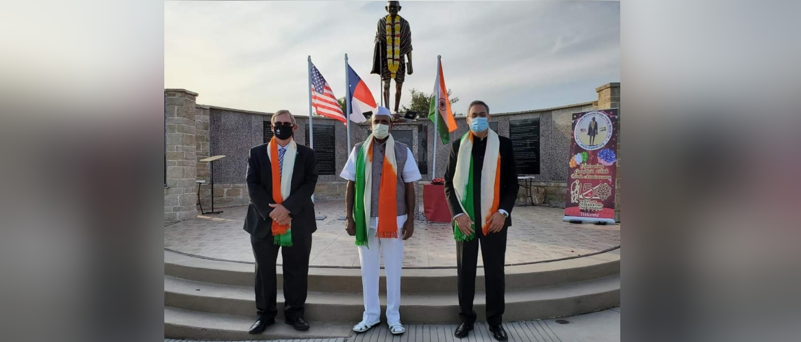 Gandhi Jayanti celebrations at Gandhi Memorial Plaza ,Irving,Texas on October 2,2020.
