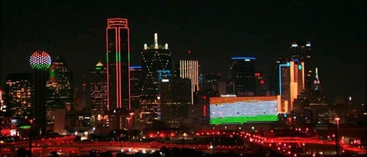 The iconic skyline of the city of Dallas, Texas was lit up in tricolors on the occasion of the 75th Independence Day of India on 15 August 2021
