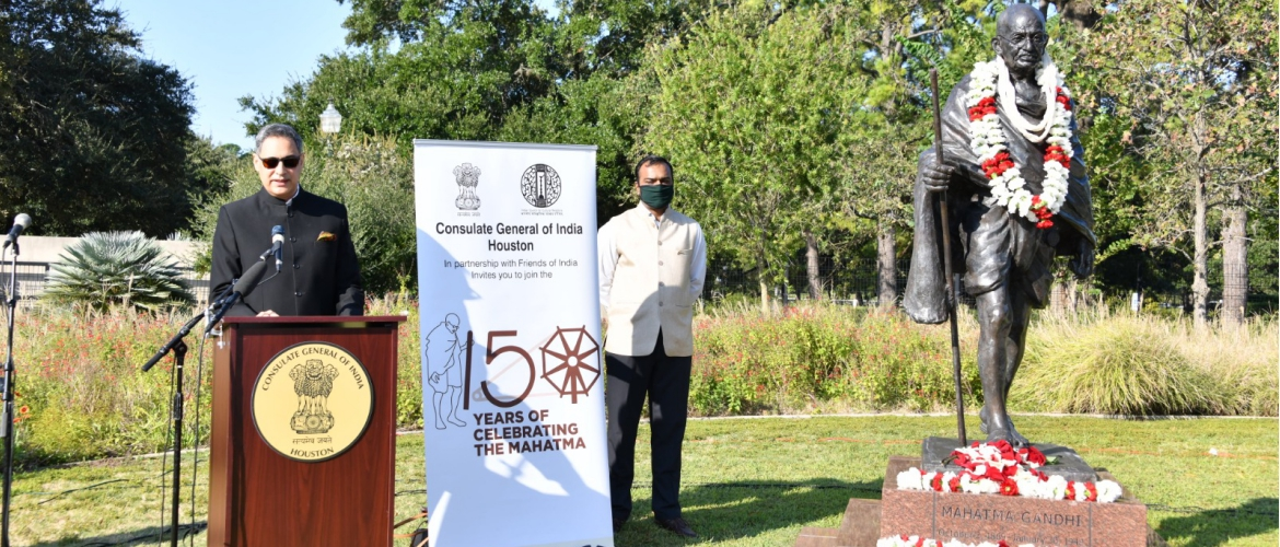 Gandhi Jayanti celebrations at Gandhi Statue, Hermann park, Houston. Consul General paid floral tributes to  Mahatma Gandhi on October 2,2020.